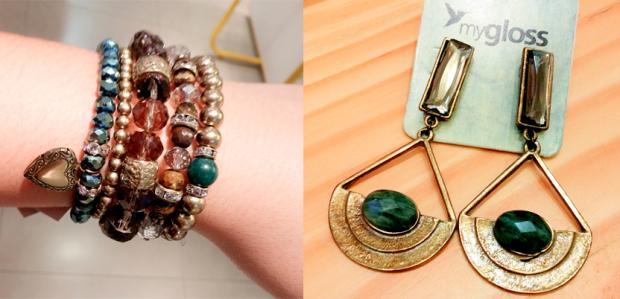 Mix de pulseiras coleção Safari | Brinco ouro vintage com um toque de verde militar