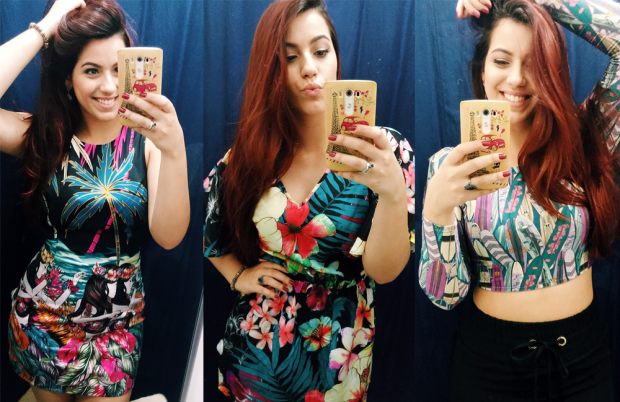 Vestido tubinho R$189,99 | Vestido floral R$229,99 | Cropped R$99,99 | Saia preta R$119,99