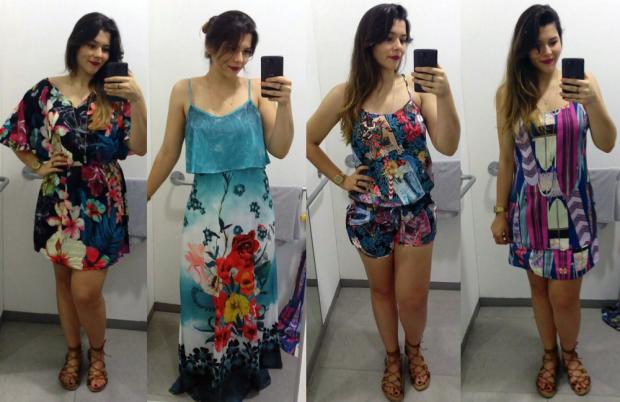 Vestido floral R$229,99 | Vestido longo R$289,99 | Macaquinho R$189,99 | Vestido tubinho R$169,99