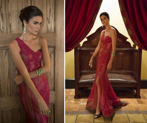 Caroline Ribeiro com vestido teaser da coleção Lethicia para Riachuelo
