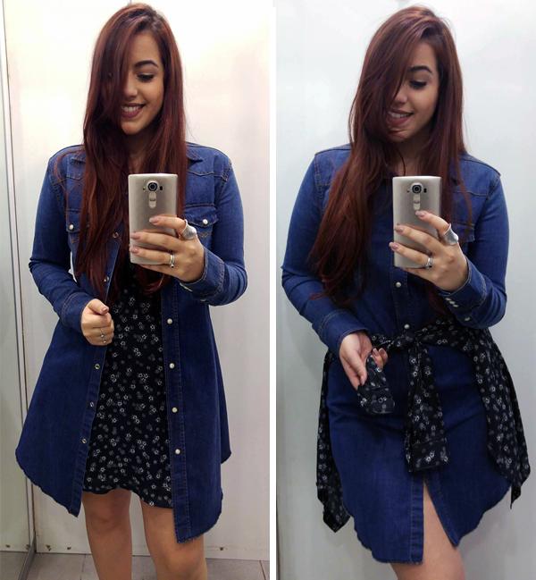 Vestido Jeans R$149,99 | Vestido preto floral R$129,99 | Camisa preta floral R$99,99
